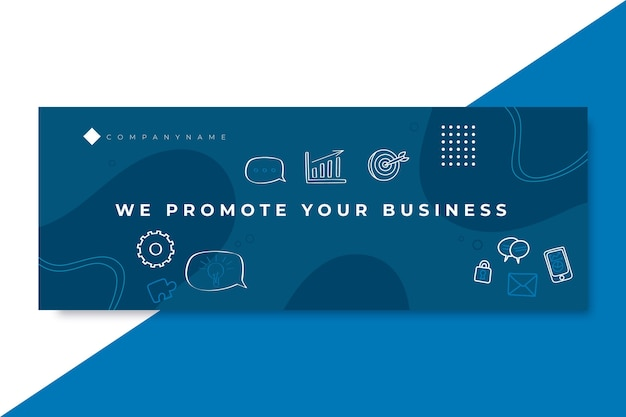 Doodle jednokolorowa biznesowa okładka facebooka