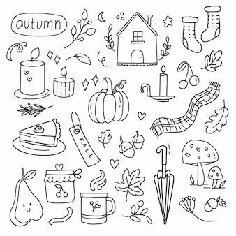 Doodle jesień elementy strony rysunku. jesienna kolekcja kreskówka linia sztuki. nowoczesna abstrakcyjna jesień sezonowa dekoracja ikona symbol dyni, świec, grzybów