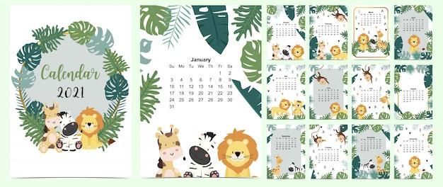 Doodle kalendarz safari zestaw 2021 z lwem, żyrafą, zebrą, małpą, palmą dla biznesu. może być używany do grafiki do druku