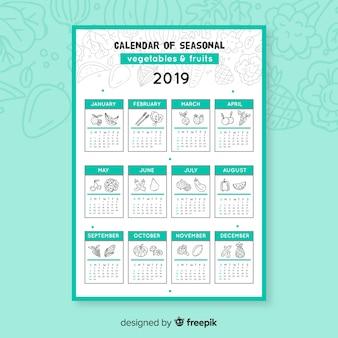 Doodle kalendarz sezonowych warzyw i owoców