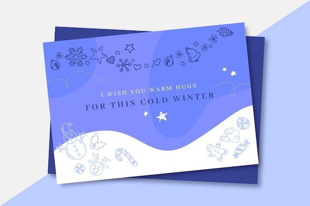 Doodle karta zima monocolor