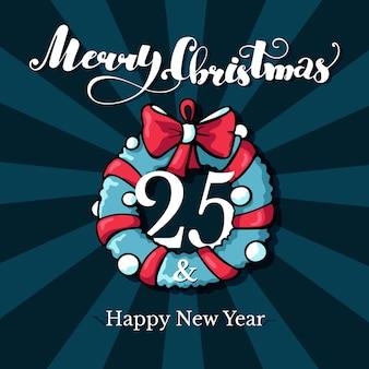 Doodle Kartka Bożonarodzeniowa Z Wesoło Bożych Narodzeń Pisać List Premium Wektorów