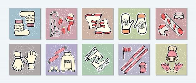 Doodle karty zimowe ilustracje