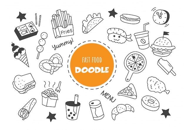 Doodle kawaii fast food