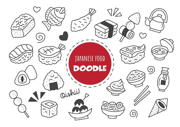 Doodle kawaii japońskie jedzenie