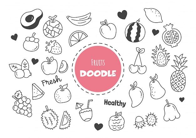 Doodle kawaii owoce