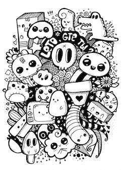 Doodle kawaii słodkie postacie z kreskówek. ilustracja sztuki linii. kolorowanie czarno-białe na białym tle