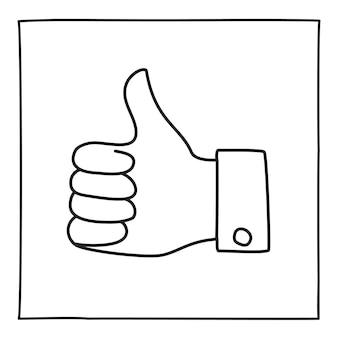 Doodle kciuki w górę ikona lub logo ręcznie rysowane cienką linią