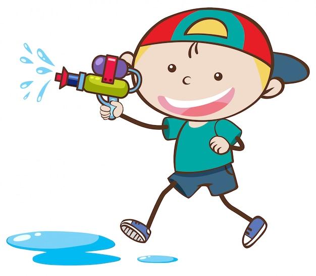 Doodle kid playing water gun
