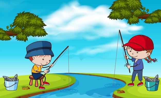 Doodle kids fishing at river