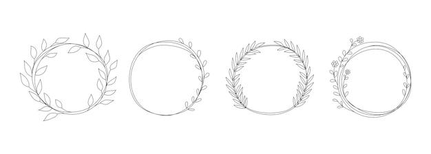 Doodle koła z liśćmi. ręcznie rysowane element ramki tekstu, kwiatowy ozdobnych symboli. wektor na białym tle okrągłe obramowania zestaw prosty ornament ilustrowany liśćmi