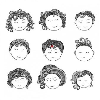 Doodle kolekcja awatarów. artystyczne elementy projektu. ilustracja na białym tle.