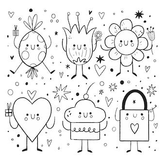 Doodle kolekcja elementów walentynki