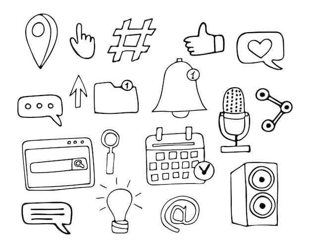 Doodle kolekcja ikon internetowych w wektorze. ręcznie rysowane ikony kolekcja w wektorze.