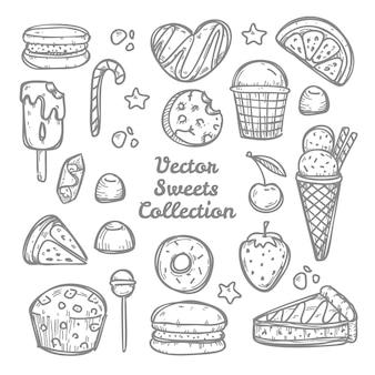 Doodle kolekcja słodyczy i cukierków. ręcznie rysowane ilustracji