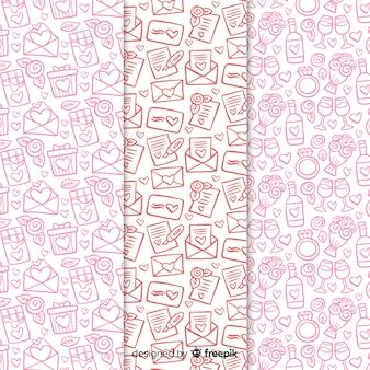 Doodle kolekcja wzór walentynki