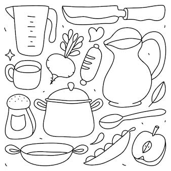 Doodle kolekcja zestaw elementów do gotowania na na białym tle