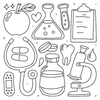 Doodle kolekcja zestaw elementów medycznych na na białym tle