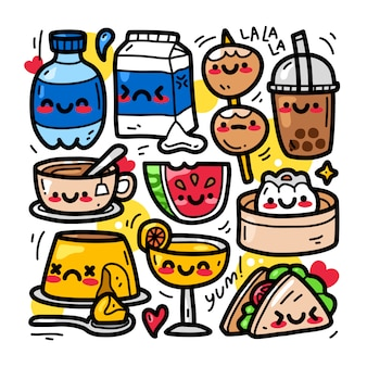 Doodle kolekcja zestaw elementów żywności i napojów.