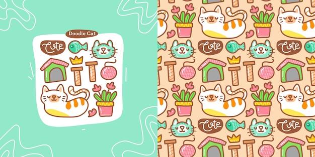 Doodle kolekcja zestaw elementu kota i wzór kota