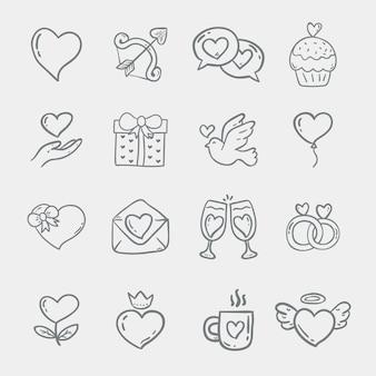 Doodle kolekcji elementów walentynki
