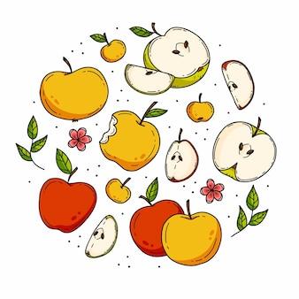Doodle kolor jabłko ustawione w kształcie koła