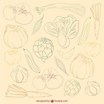 Doodle kolor warzywa