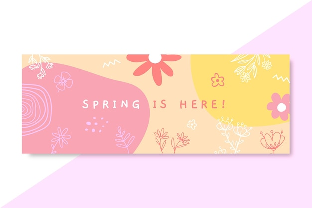 Doodle kolorowa wiosenna okładka facebooka