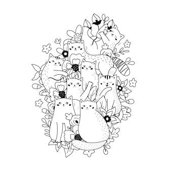 Doodle kolorowanka z zabawnymi kotami i kwiatami
