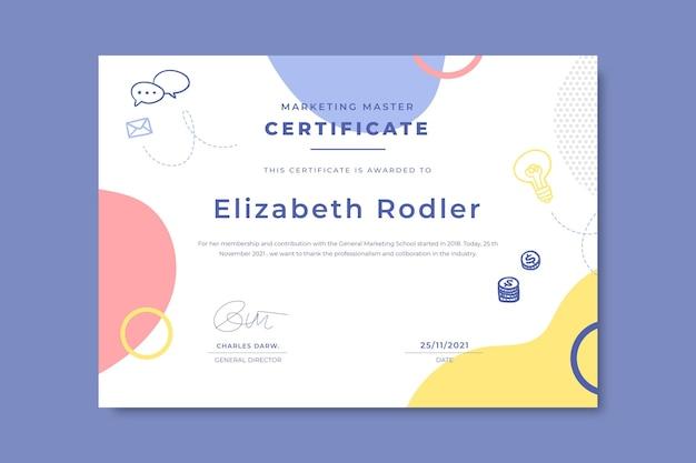 Doodle kolorowe certyfikaty biznesowe