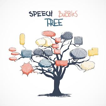 Doodle komiks mówić pęcherzyków rosnących na drzewie izolowanych ilustracji wektorowych
