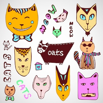 Doodle koty kolekcji. ręcznie rysowane kolorowanki. sztuka wektor.