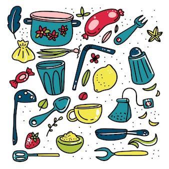 Doodle kreskówka elementy kuchni duży zestaw