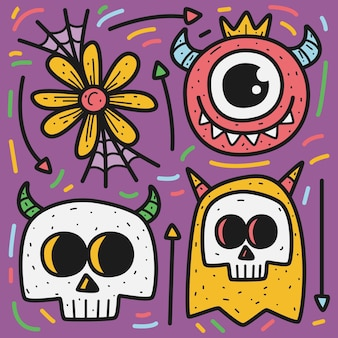 Doodle kreskówka halloween projekt