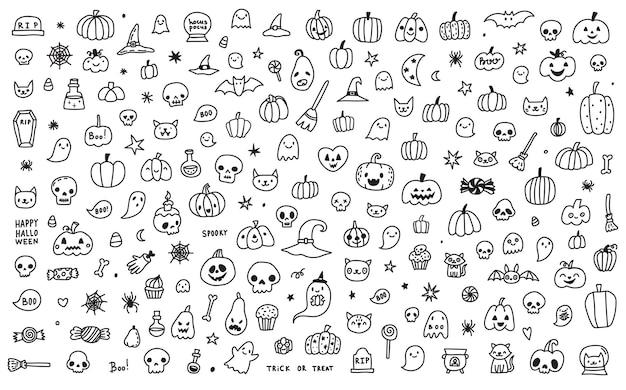 Doodle kreskówka zestaw kolekcja ikon i symboli o dniu halloween, na białym tle