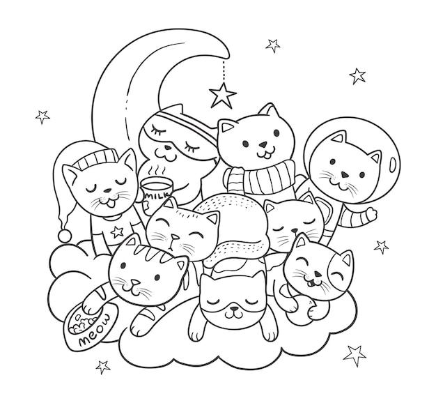 Doodle księżyc i słodkie koty