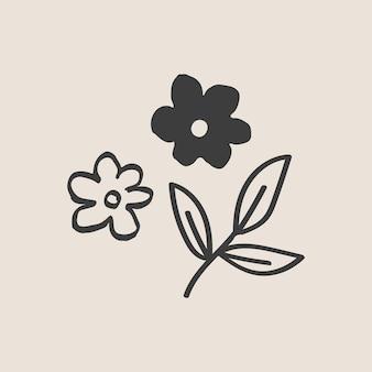 Doodle kwiat w kolorze czarnym