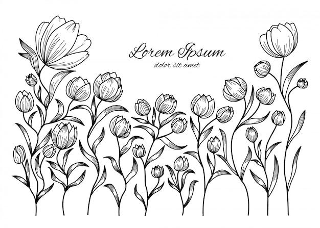 Doodle kwiatowy wzór kwiatowy i tła