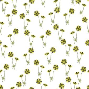 Doodle Kwiatowy Wzór Z Zielonymi Małymi Kwiatami Zawilec Kształty. Białe Tło. Ilustracji. Projekt Wektor Dla Tekstyliów, Tkanin, Prezentów, Tapet. Premium Wektorów
