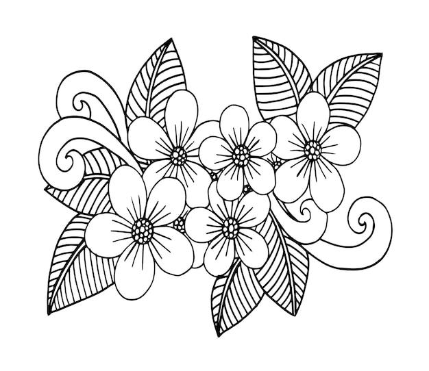 Doodle kwiaty wzór w czerni i bieli