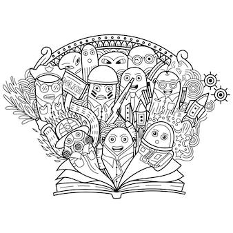 Doodle ładny zawód z otwartą książką