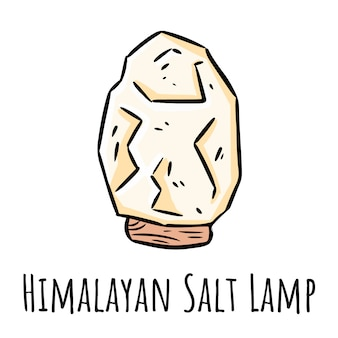 Doodle lampa himalajska biała sól. liniowy nowoczesny miejscowy monogram z kryształem soli.