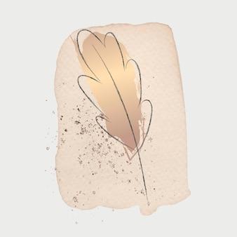 Doodle liść z beżowym tłem pociągnięcia pędzlem