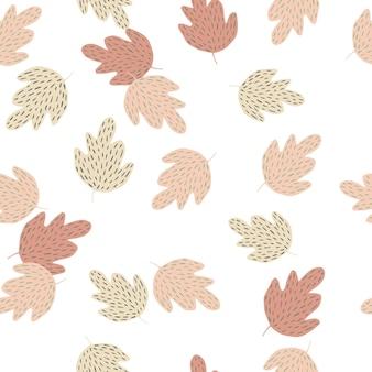 Doodle liście dębu wzór na białym tle. prosta tapeta natury. tło liści jesienią. do projektowania tkanin, drukowania tekstyliów, pakowania, okładek. ilustracja wektorowa.