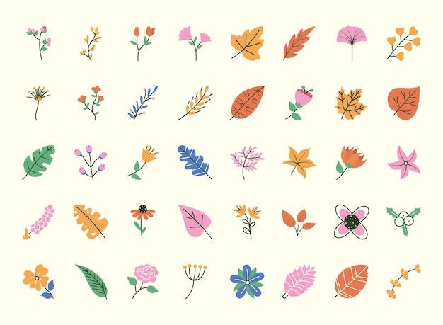 Doodle liście ustawione na białym tle, styl pół pół linii kolor, ilustracja