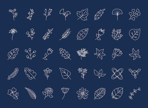 Doodle liście ustawione na niebieskim tle, styl linii, ilustracja