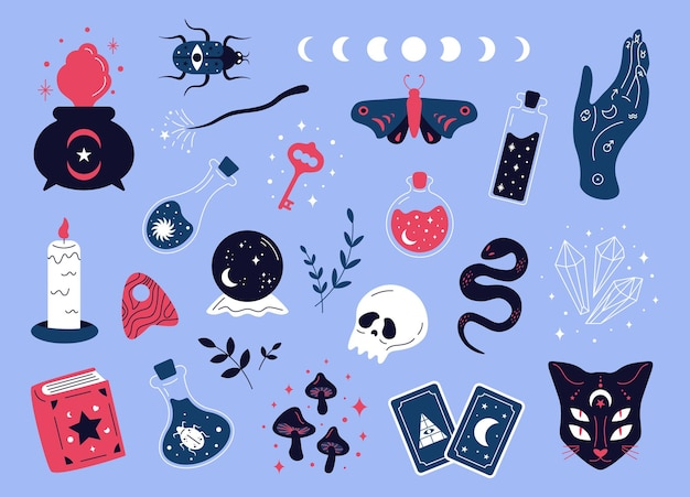 Doodle magiczna kolekcja elementy kreskówek czarów dla ezoterycznych symboli magicznego sklepu