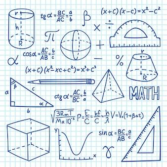 Doodle matematyki i geometrii koncepcji. funkcje trygonometrii, wykresy i wzory matematyczne. tło edukacji szkolnej