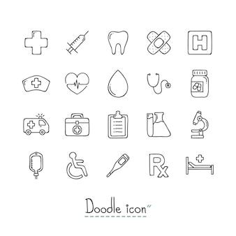 Doodle medyczne ikony.