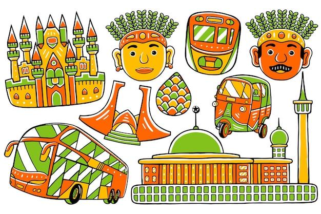 Doodle miasta dżakarta w stylu płaskiej konstrukcji
